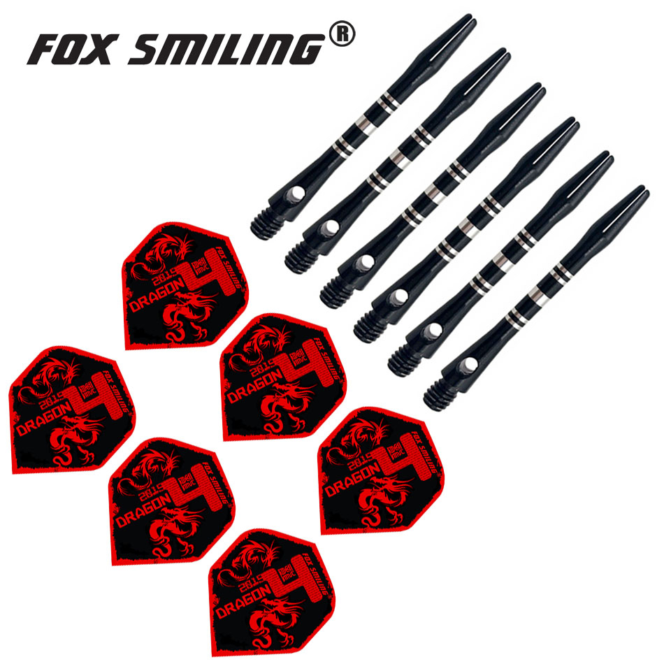 Fox Smiling 41mm Aluminium Dart Shafts And Darts Flights Set Dardos Feather Leaves Dart Accessories Set Black Blue Colors