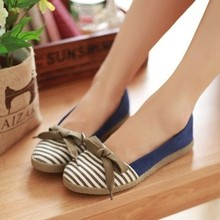 2015 Summer Women's casual color block stripe pedal decoration shoes lazy girls sweet shallow mouth canvas shoes women's flats