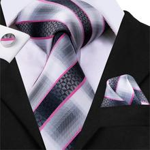 Hi-Tie 2019 New Striped Ties for Men 100% Silk Men Tie Set Pocket Square Cufflinks Set Male Business White Black Red Tie C-3016 new men s business casual professional tie polyester silk striped male tie team manufacturers wholesale spot