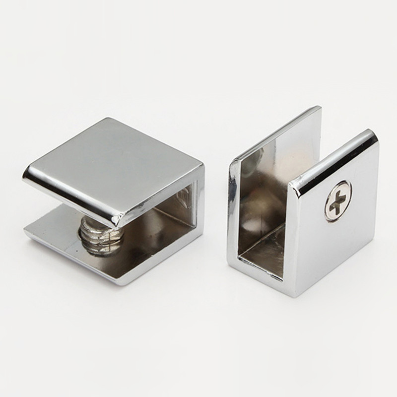 2pcs/lot Square Shape Chrome Finished Zinc Alloy Glass Clamps Shelves Support Bracket Clips For 5 To 12mm Glass Board
