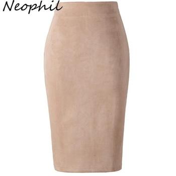Winter Women Suede Midi Pencil Skirt High Waist Gray Pink XXL Sexy Style Stretch Wrap Ladies Office Work
