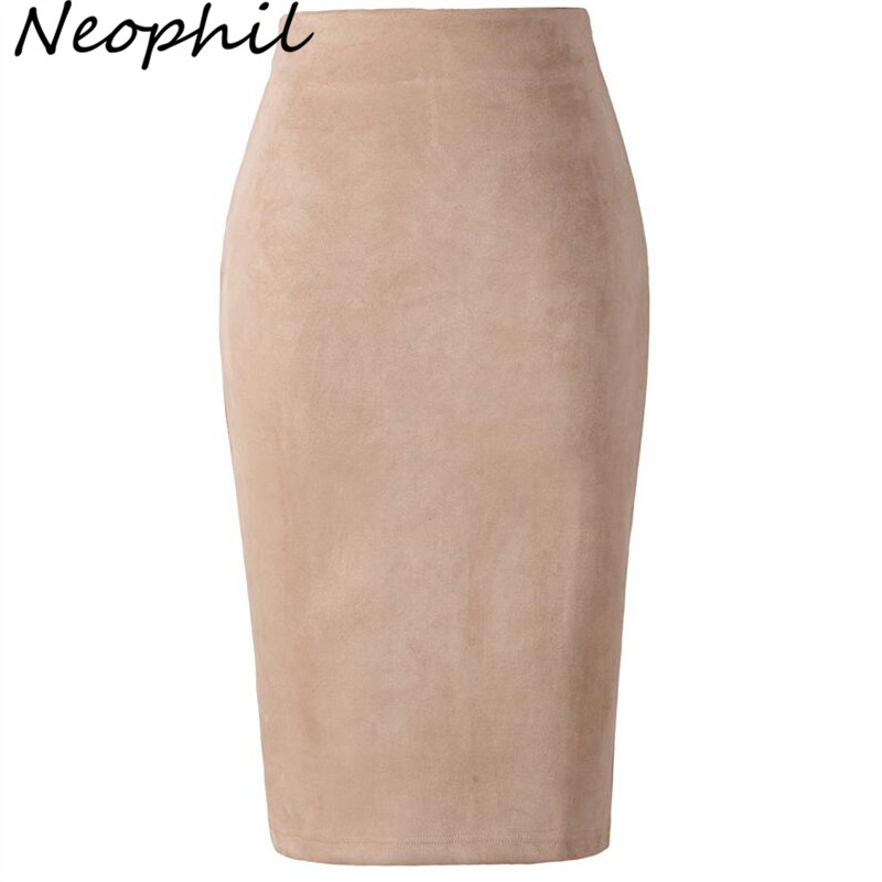 Neophil 2019 Winter Women Suede Midi Pencil Skirt High Waist Gray Pink XXL  Style Stretch Wrap Ladies Office Work Saia S1009