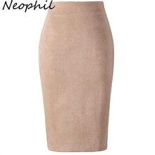 Neophil 2020 Winter Women Suede Midi Pencil Skirt High Waist Gray Pink XXL Sexy Style Stretch Wrap Ladies Office Work Saia S1009
