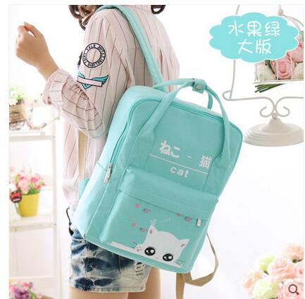 Student bag female shoulder bag small fresh 2017 Japanese and Korean version of the wave canvas travel backpack college wind korean version canvas shoulder bag backpack student bag ladies cartoon cute new child birthday gift