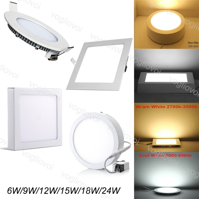 Vogliovoi Down lights Led Ultra thin Recessed Surface Led Ceiling Downlight 12W 15W 18W Round Square Panel Light Indoor Lighting