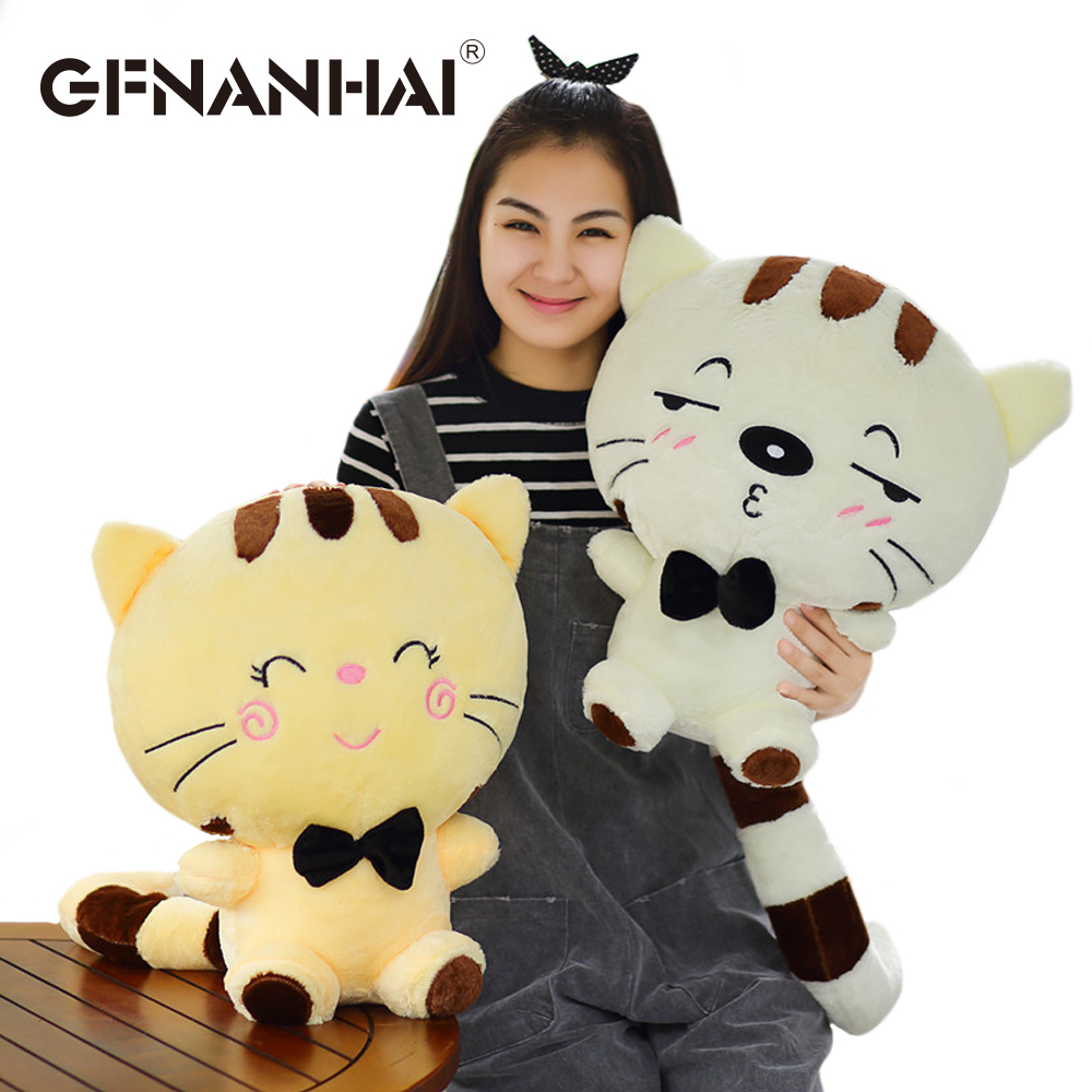 1pc 30cm cute big face cat plush toy with long tail stuffed soft pillow kawaii expression kitten doll for children birthday gift