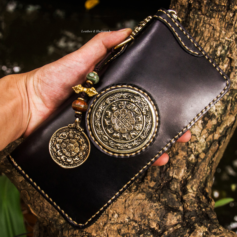 Unique creative design handmade men wallets long zipper inlaid lucky Genuine Leather wallet women luxury brand clutch purse
