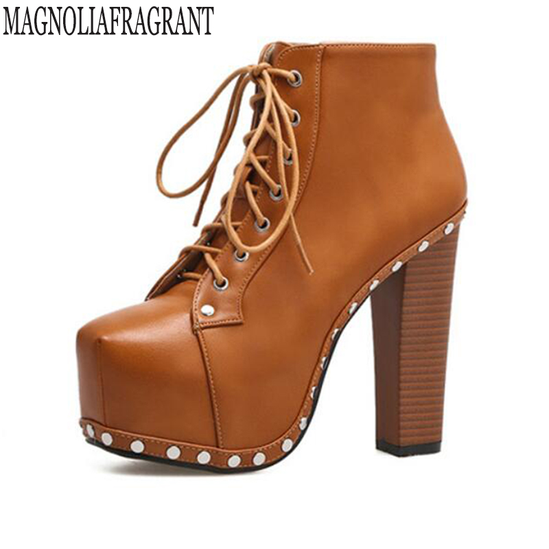 Ladies shoes Women boots High heels Platform Buckle Rivets Sapatos femininos Lace up boots Rough with ankle boots for women k627 apoepo brand shoes punk style rivet ankle boots for women lace up high heels shoes women boots sexy platform shoes with heels