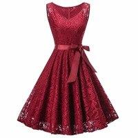 Women's Vintage V Neck Sleeveless Belt Tunic Floral Lace Party Dress Evening A Line Dresses