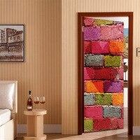 2 Pcs Set 3D Colored Bricks Door Wall Stickers Home Decoration 70 200cm DIY Door Art