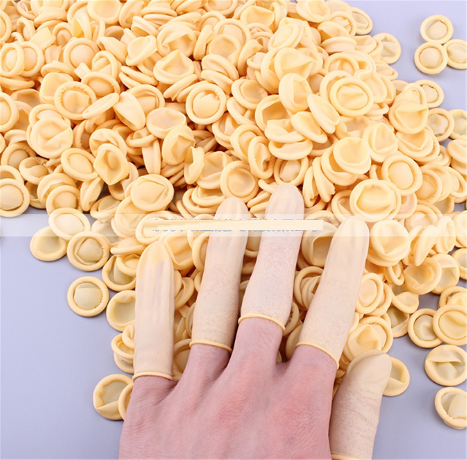 200Pcs Latex Finger Cots Fingertips Cover Protective Protect Rubber Glove Anti-Static Nail Art Dental Medical Factory Workshop