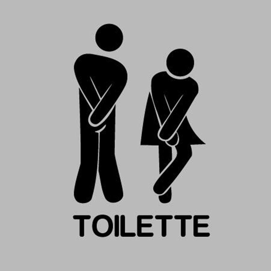 Franse muurstickers - Funny Toilet Entrance Sign Sticker voor Frankrijk home restaurant toilette decor, gratis verzending FR300