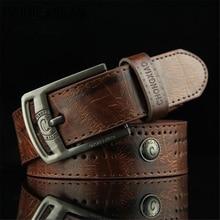 RAINIE SEAN Men Leather Belt Punk Rivet Vintage Pin Buckle C