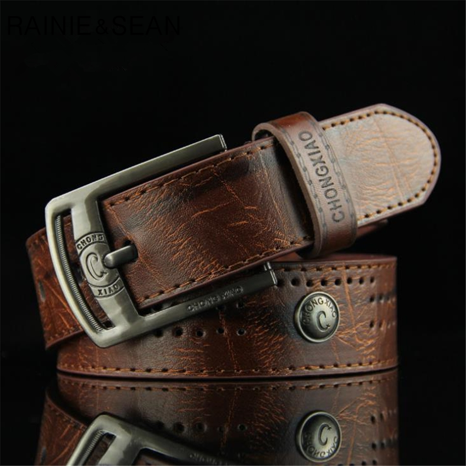 RAINIE SEAN Men Leather   Belt   Punk Rivet Vintage Pin Buckle Casual Male   Belt   For Trousers Black White Brown   Belt   For Men Jeans