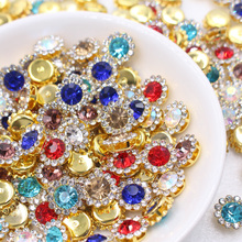 Sunflower Shape Mix color Super beauty top quality glass crystal flatback sew on claw rhinestones diy Clothing accessories 20pcs
