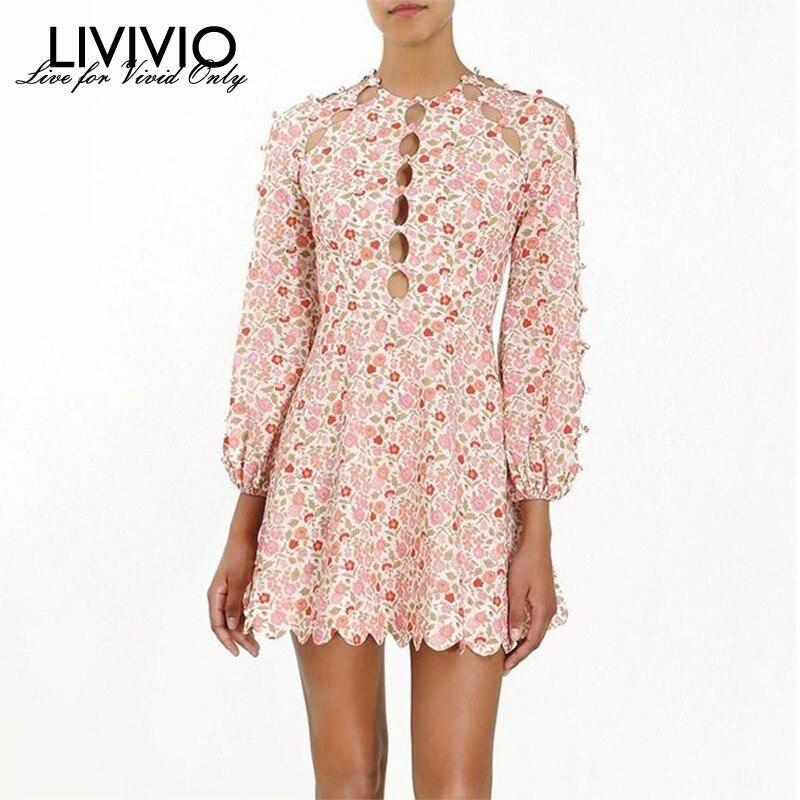 LIVIVIO Bohemian Floral Print Women Dress Hollow Out High Waist Long Sleeve Sexy 2019 Summer