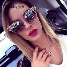 Coodaysuft 2017 New CatEye Famous Brand Designer Sunglasses Vintage Metal Classic flower Frame Eyewear Sun Glasses Female Mirror