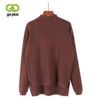 GOPLUS 2018 Autumn Winter Knitted Sweater Women Turtleneck Long Sleeve Split Pullovers Plus Size Befree Loose Jumper Female Top