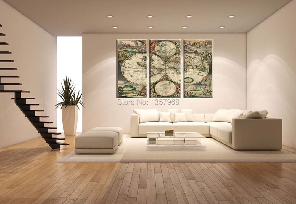 Wall Decor Printed Rectangular World Map Decal For Housewares