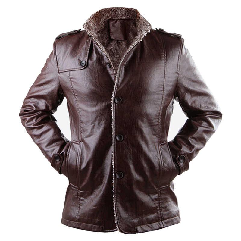 f6248f598b0 2019 Brand PU Leather Jacket Motorcycle Men s Winter Jackets and Fur Coats  Thickening Wool Windbreak Warm