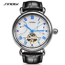 SINOBI Luxury Men Watches Automatic Mechanical Watch Delicate Tourbillon Clock Leather Casual Business Wristwatch Relojes Hombre