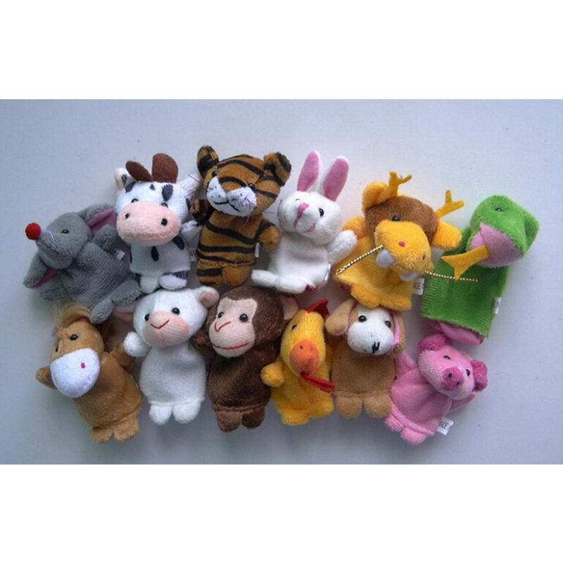 Children Gift Christmas Baby Plush Toy 12 Pcs Tell Story Props Children Furniture Sets Finger Puppets Animal Doll Zodiac Animals