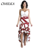 OMILKA 2019 Summer Women Mid Waist Geometrical Printed Ruffle Hi Low Skirt Sexy Red Club Party Front Short Back Long Skirts