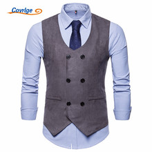 Covrlge Mens English Style Suit Vest Foramal Weeding Vests Waistcoat Men Gilet Business Wedding Tuxedo Colete MWX025