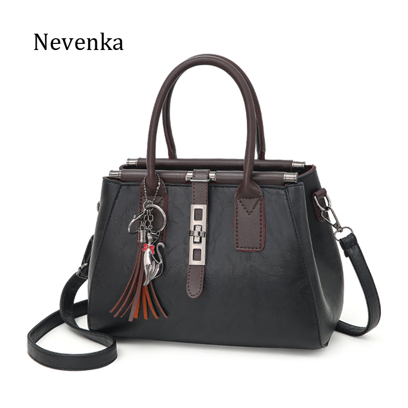 Nevenka Fashion Pu Leather Bag Women Luxury Design Tassel Lock Chains Messenger Bags Solid Casual Tote Famous Brands Handbags sgarr new pu leather women messenger bag fashion luxury designer solid black casual tote bags famous brand party shoulder bag