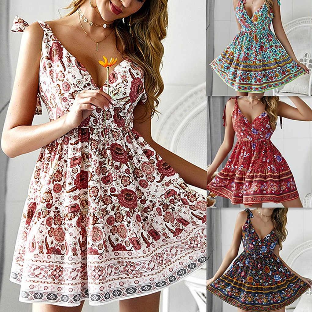 ผู้หญิง Boho ดอกไม้ชุดมินิสุภาพสตรีฤดูร้อน Sundress Holiday sukienka damska plus ขนาด # M6Y