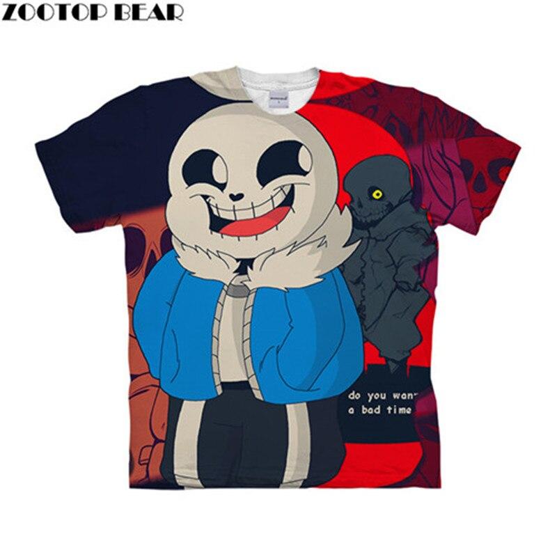 Undertale Bad Time 3D t shirt Travel Summer tshirts Men t-shirt TopTee Funny Short Sleeve Shirts Streetwear Dropship ZOOTOPBEAR