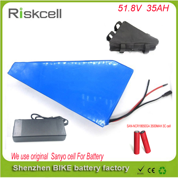 Triangle style 51.8v 35ah electric bicycle lithium ion battery 52v 35ah ebike li-ion battery ebike battery For Sanyo GA3500 cell 48v 34ah triangle lithium battery 48v ebike battery 48v 1000w li ion battery pack for electric bicycle for lg 18650 cell