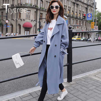 Trytree 2018 Autumn Women Casual Windbreakers Solid Sashes Cotton Polyester Wide-waisted Office Lady Thin Long Blue Black Coats - DISCOUNT ITEM  25% OFF All Category