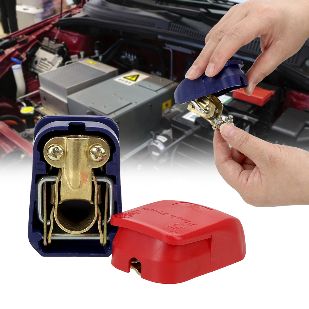 Leepee um par de eletrodo positivo & negativo liberação rápida elevador fora do conector braçadeiras terminais de bateria de carro acessórios do carro