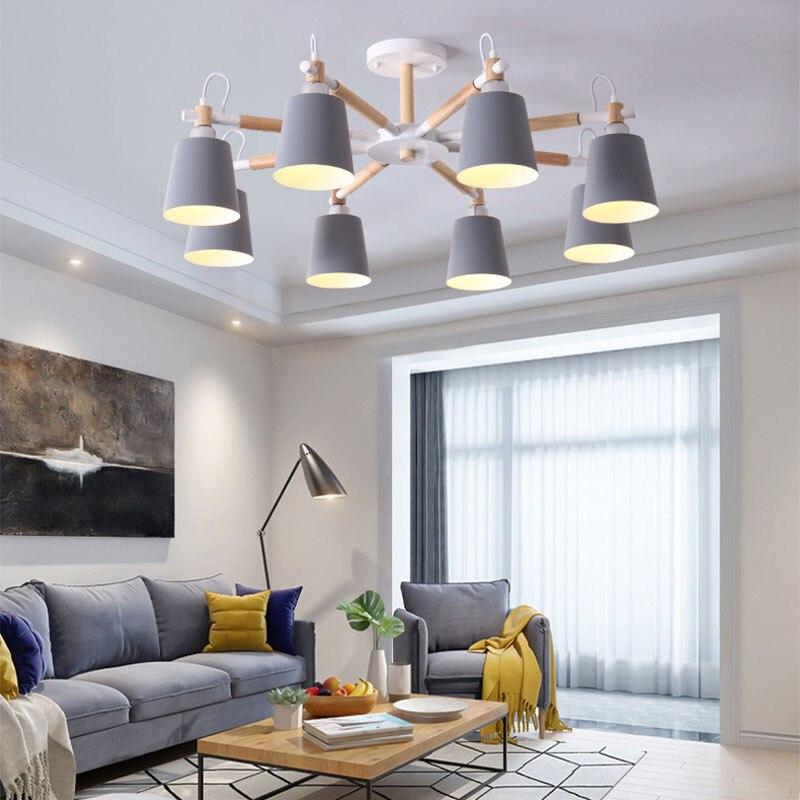Nordic Minimalist Metal And Wooden Bracket Chandelier Chandelier E27 Colorful Chandeliers For Kitchen Living Room Bedroom Study
