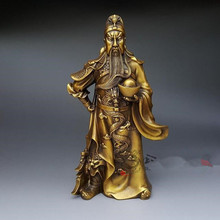 "Special offer light copper knife drag large Fortuna Wu Guan Shui bronze statue gold ornaments ""lucky"