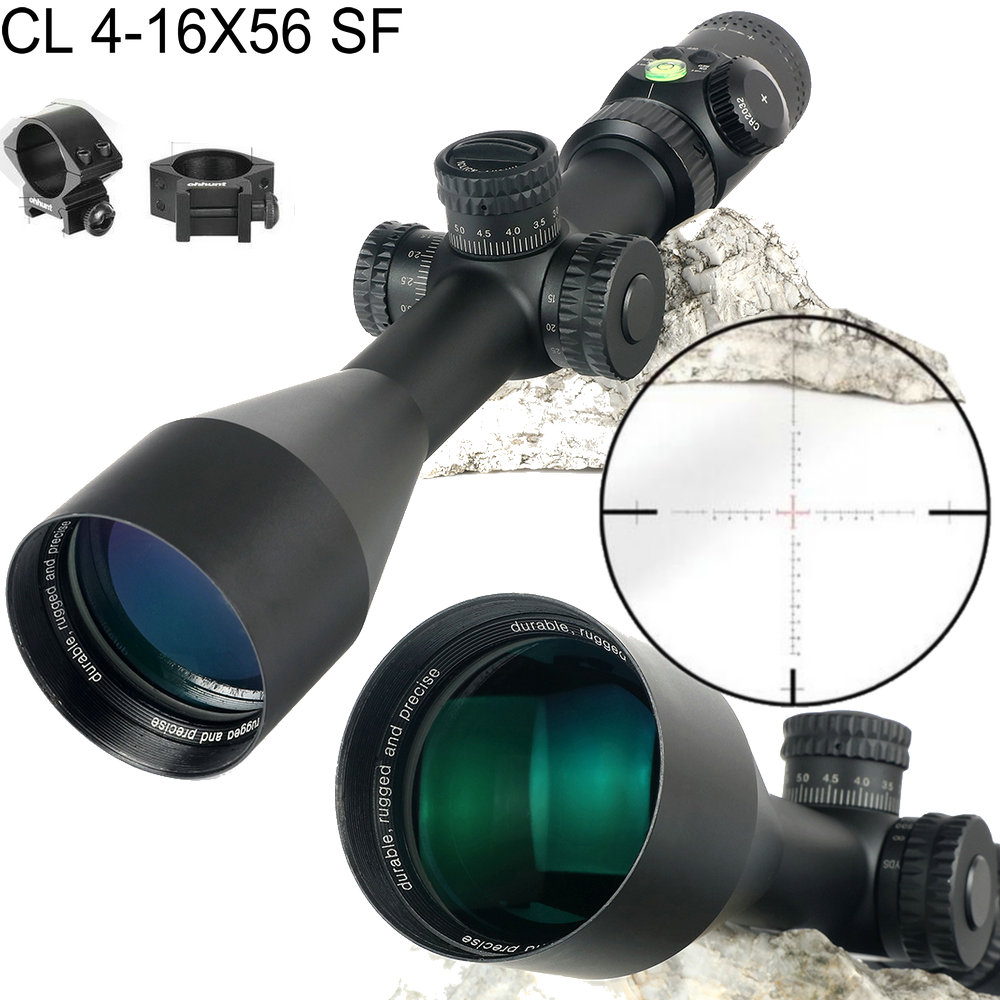 CL 4-16X56 SF Hunting Trail Optics Riflescopes Glass Etched Reticle Side Parallax Turrets Lock Reset Scope with Bubble Level sniper ck 4 16x50 fpsal hunting rifle scope side parallax adjustment glass etched reticle rg illuminated with bubble level