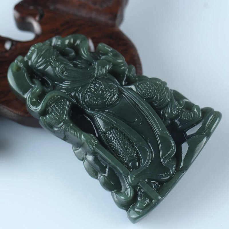 Yu Xin Yuan tallado Natural Hetian Guan Gong amuleto Jade colgante Lucky Brave hombres
