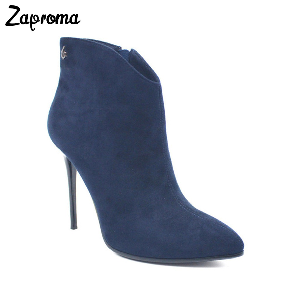 f8b13b214e9 Navy Blue Suede Thin Heel Women Ankle Boots Fleece Metal Decoration Flock  Booties Super High Heel Pointed Toe Autumn Winter Shoe