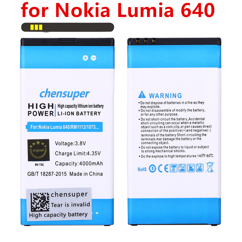 Chensuper 4000 mAh BV-T5C pour Microsoft Nokia Lumia 640 RM-1109 RM-1113 RM-1072 RM-1073 RM-1077 RM Lumia640 Batterie