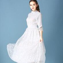 New Autumn Snow White Dress princess high quality 2016 Lace Sleeve Dresses Restoring Ancient Ways Women's Clothing vestidos