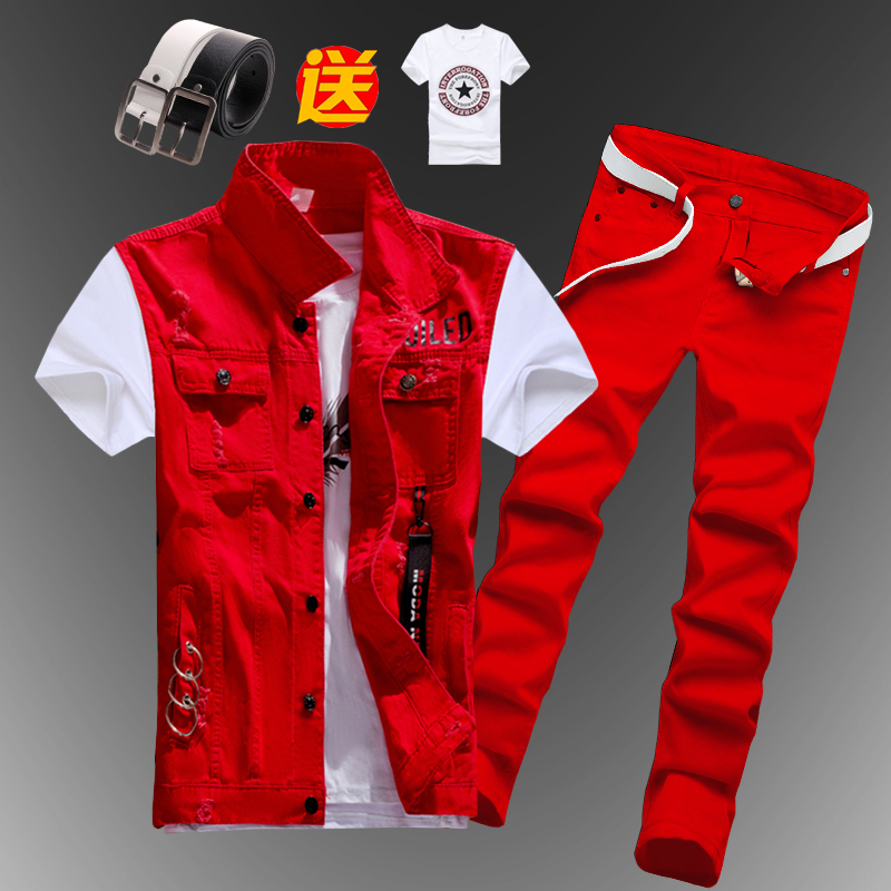 New Mens Boys Casual Denim Vest Sleeveless Waistcoat Summer Jeans Pants Trousers Slim Fit 2pcs Set Thin M5