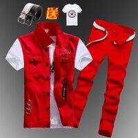New Mens Boys Casual Denim Vest Sleeveless Waistcoat Summer Jeans Pants Trousers Slim Fit 2pcs Set Thin M5