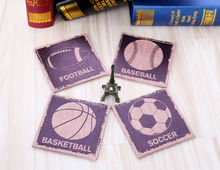 LINKWELL Set of 4 10x10cm Vintage Love Sports Man Cave Ball Game PU Leather Bar Coaster Table Cup Holder Drink Placemat Mat