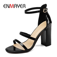 ENMAYER  Casual Buckle Strap Genuine Leather Woman Shoes High Heels Zandalias De Verano Mujer Size 34-40 ZYL2588