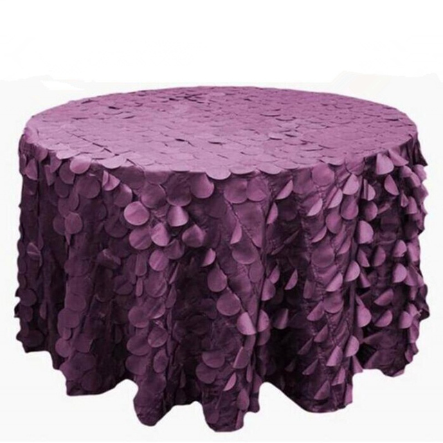 120 Round Polyester Taffeta Flower Petals Table Cover Wedding Tablecloth Party Dining