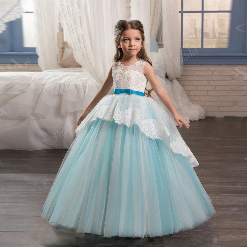 First Communion Dresses Lace Up Back and Bow Sash Appliques Tulle Sky Blue Flower Girls Gowns for Weddings Hot Sale High Quality