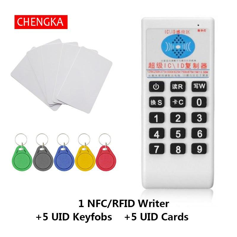 Handheld RFID 125 Khz-13.56 MHZ Copiadora Cloner Duplicador NFC RFID ID/IC Card Reader & Escritor Cartões terno