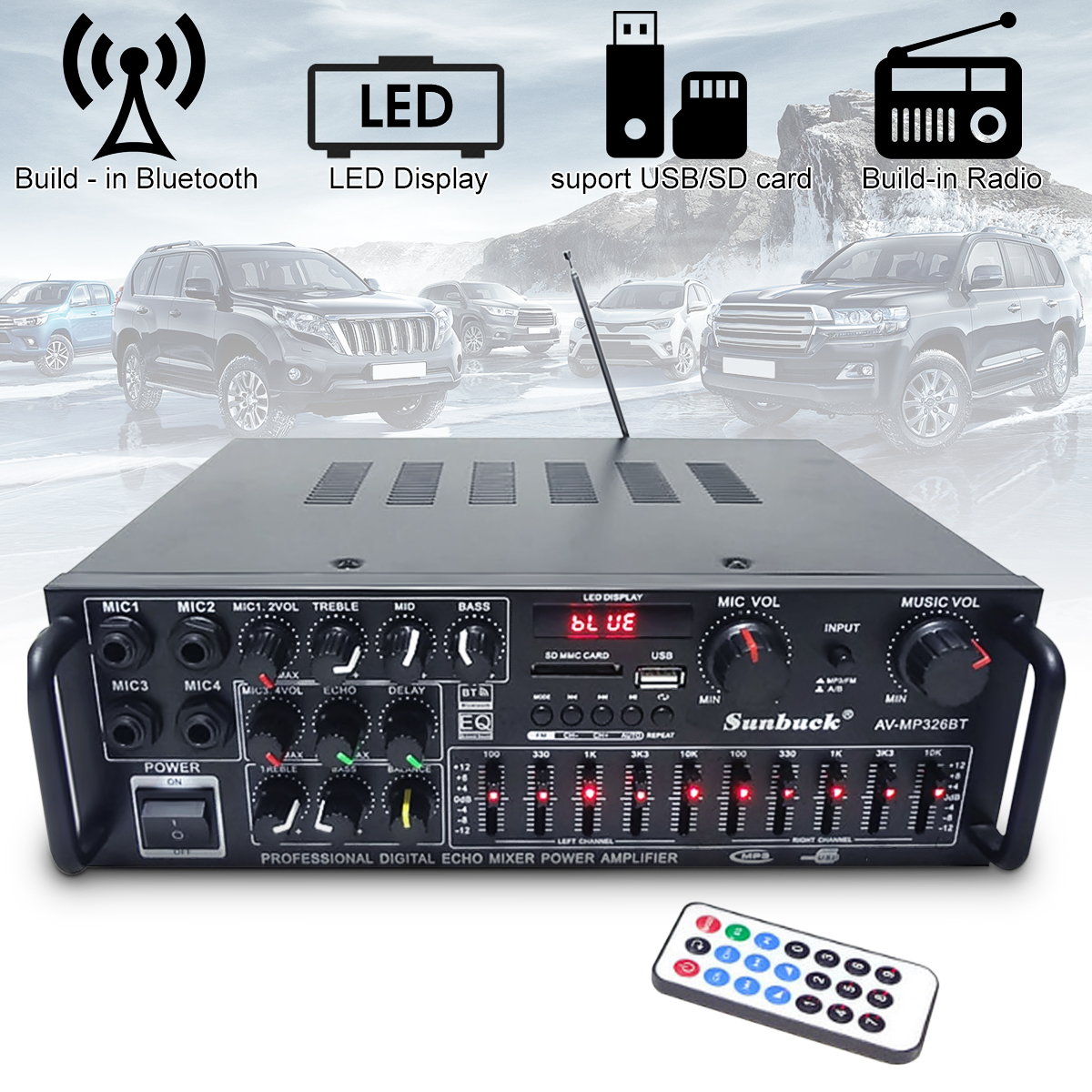 Universal220V Car Auto USB Bluetooth Stereo Digital Power Amplifier Hi-Fi Audio Power Amplifier 2-channel Car Amplifiers Audio 20w 20w hi fi audio amplifier 12v hi fi mini auto stereo audio amplifier support cd mp3 car power amplifier for car and home