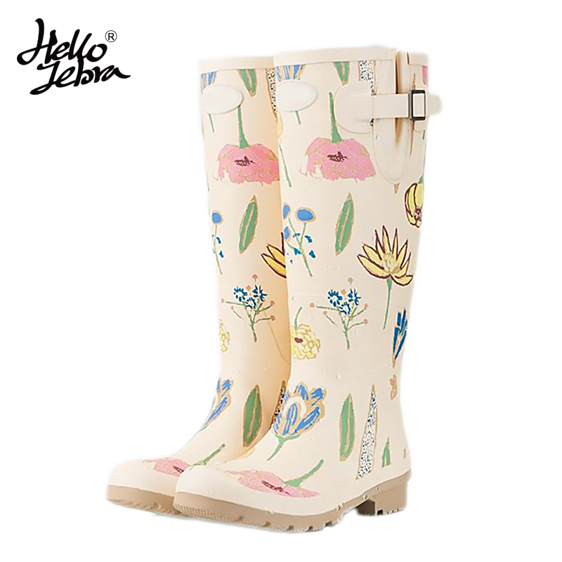 Hellozebra Women Tall Rain Boots Ladies Low Hoof Heels Waterproof Graffiti Buckle High Nubuck Round Toe Rainboots Fashion hellozebra women rain boots lady low heels solid plain elatic waterproof welly buckle nubuck rainboots 2016 new fashion design